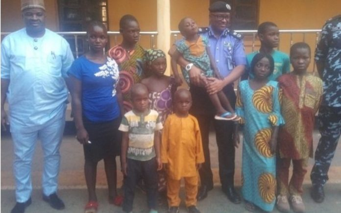 two-suspected-child-traffickers-paraded-in-enugu-nine-children-recovered