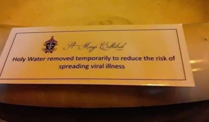 Holy water removed temporarily to reduce the risk of spreading viral disease